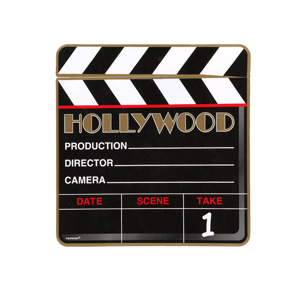 Decoración de claqueta de cine de cartón