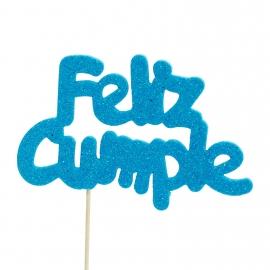 Decoración para tarta Feliz Cumple azul