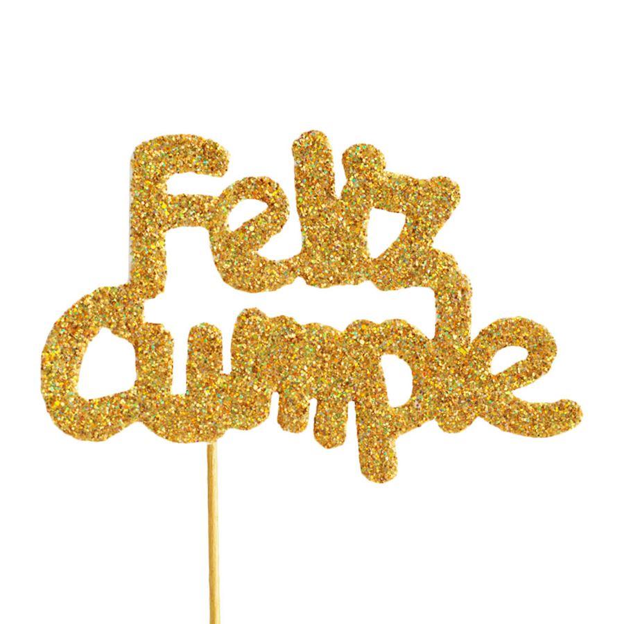 Decoración para tarta Feliz Cumple oro