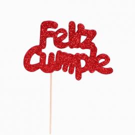Decoración para Tarta Feliz Cumple Rojo - Miles de Fiestas