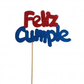 Decoración para tarta Feliz Cumple Rojo y Azul
