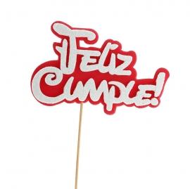 Decoración para tarta Feliz Cumple Rojo y Blanco