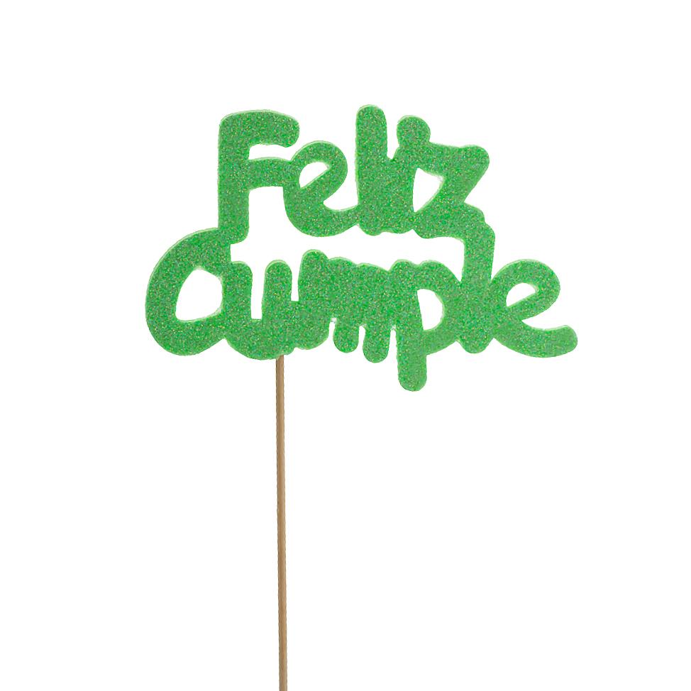 Decoración para tarta Feliz Cumple Verde