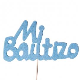 Decoración para Tartas Mi Bautizo Azul - Miles de Fiestas