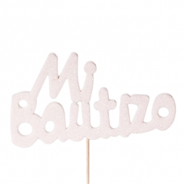 Decoración para Tartas Mi Bautizo Blanco - Miles de Fiestas