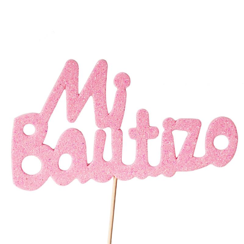 Decoración para Tartas Mi Bautizo Rosa - Miles de Fiestas