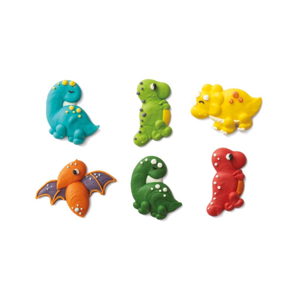 Juego de 6 Decoraciones de Azúcar Dinosaurios
