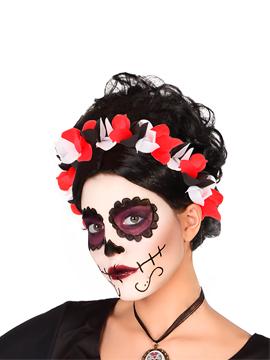 Diadema Catrina Rojo Negro Blanco