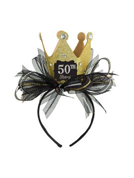 Diadema de cumpleaños con corona personalizable Gold Sparkling