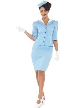 Disfraz Azafata de Vuelo Azul