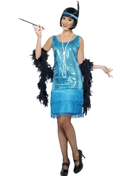 Disfraz Charleston Azul Mujer