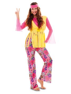 Disfraz Chica Hippie Rosa y Amarillo Adulto