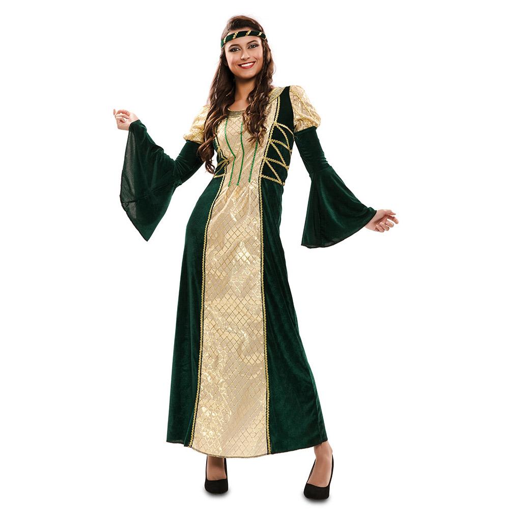 Disfraz Dama Medieval Verde y Dorado