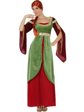 Disfraz Dama Medieval Verde y Rojo Adulto