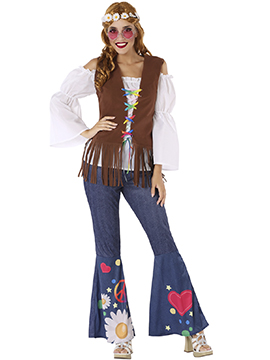Disfraz Mujer Hippie Peace Adulto