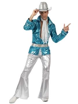 Disfraz Disco Azul y Plata Hombre