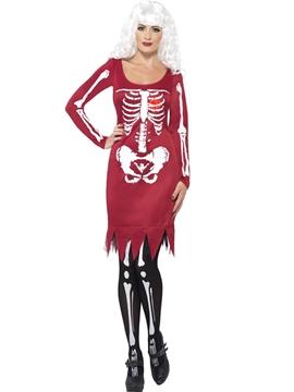 Disfraz Esqueleto Rojo Mujer