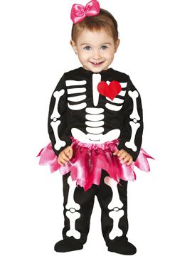 Disfraz Esqueleto Tutú Rosa Bebé