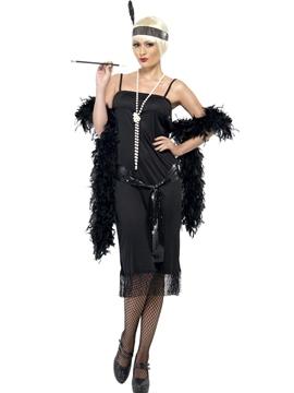 Disfraz Flapper en Negro Mujer
