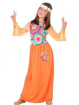 Disfraz Hippie Naranja Niña
