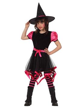 Disfraz de Bruja Negro y Rosa Infantil