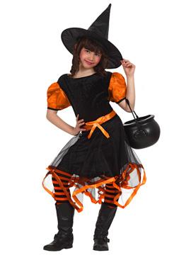 Disfraz Bruja Negro y Naranja Infantil