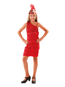 Disfraz Niña Charlestón Rojo infantil