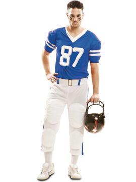 Disfraz Jugador Rugby Azul Hombre