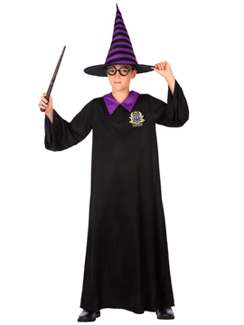 Disfraz Mago Negro y Púrpura Infantil