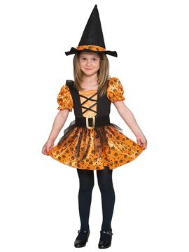 Disfraz Bruja Naranja y Negro Infantil