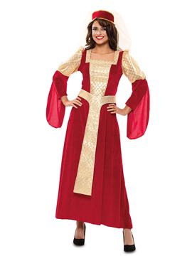 Disfraz Reina Medieval Rojo y Dorado