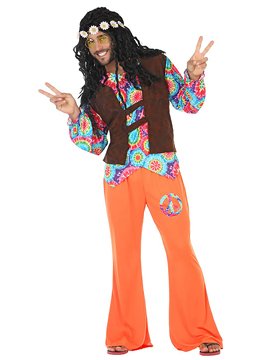Disfraz Hippie Naranja Hombre