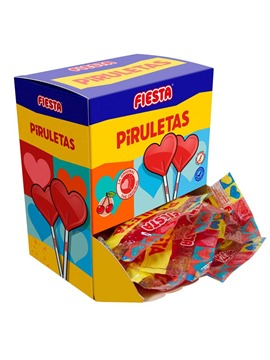 Piruletas de Corazón sabor Cereza 7 ud - Fiesta