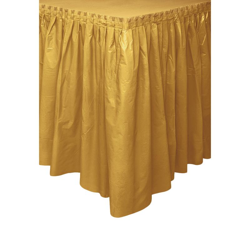 Falda de Plástico para Mesa Dorada