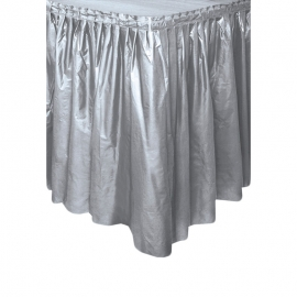 Falda de Plástico para Mesa Plateada