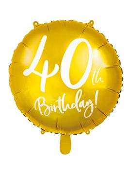 Globo de foil de 40 cumpleaños color Oro de 45 cm