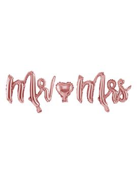 Globo de foil Mr & Mrs rosa oro de 90 cm de largo