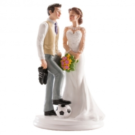 Figura Pareja de Boda Fútbol 20 cm