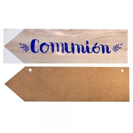 Flecha de Madera con Vinilo Comunión Azul
