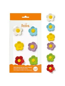 Flores de Azúcar Grandes Colores Surtidos 6 ud - DECORA