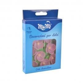 Flores de Oblea Rosas con Hojas 4,5 cm 8 ud