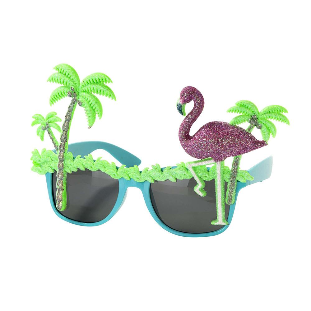 Gafas con un flamenco y dos palmeras con purpurina