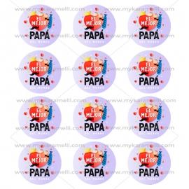 Juego de 12 Impresiones en Papel de Azúcar Día del Padre Modelo F 6 cm