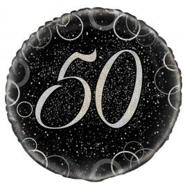 Globo 50 Cumpleaños Negro y Plata 45cm