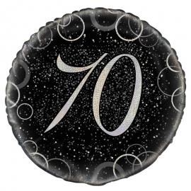 Globo 70 Cumpleaños Negro y Plata 45cm