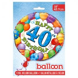 Globo de Foil 40 Cumpleaños 45 cm