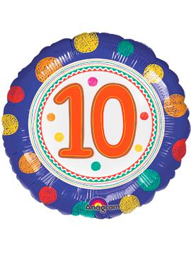 Globo de Foil Redondo Número 10