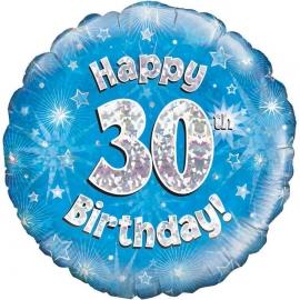 Globo de foil Holográfico 30 Cumpleaños azul