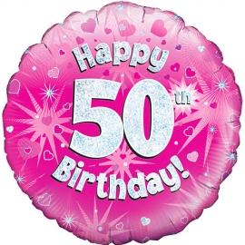 Globo de foil Holográfico 50 Cumpleaños rosa