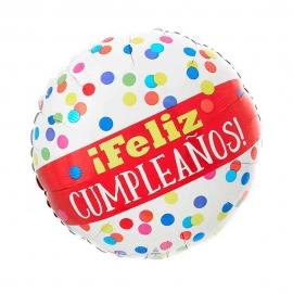Globo Feliz Cumpleaños Lunares Multicolor 45 cm